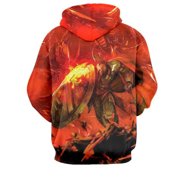 League of Legends Pantheon Aegis Protection In Fire Vibrant  Hoodie