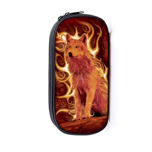 Lone Wolf Oozing with Power Cutesy Orange School Pencil Case