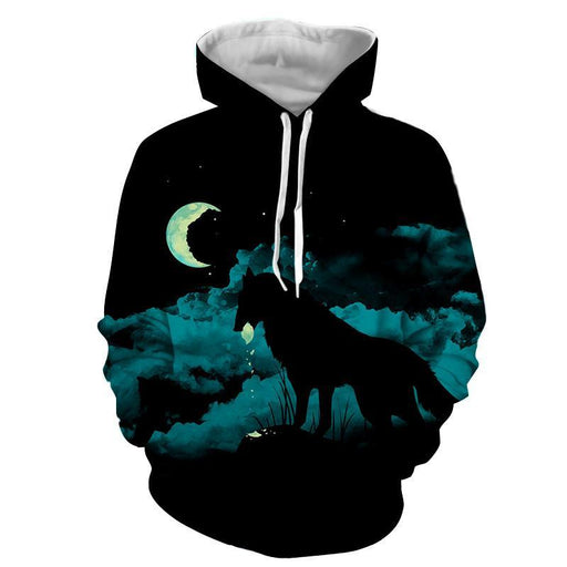 Lonely Wolf Under The Moonlight Cool Blue Vibe Hoodie
