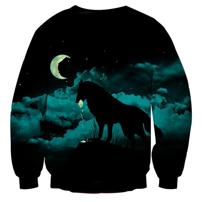 Lonely Wolf Under The Moonlight Cool Blue Vibe Sweatshirt