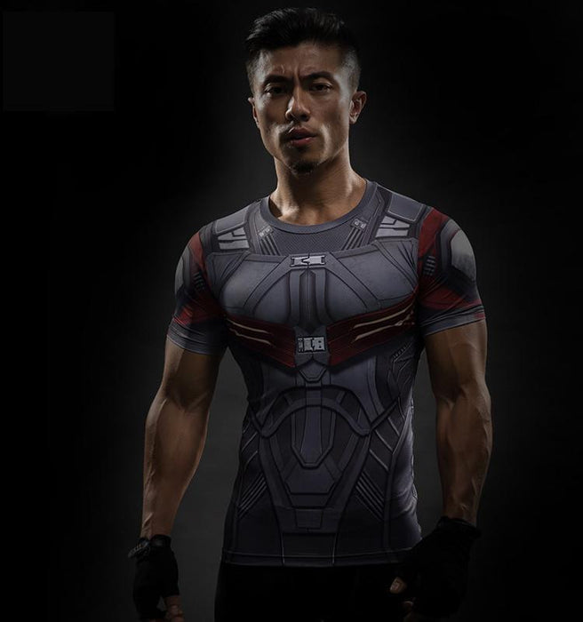 Marvel Falcon Avenger Fighter Compression 3D Short Sleeves T-Shirt - Superheroes Gears