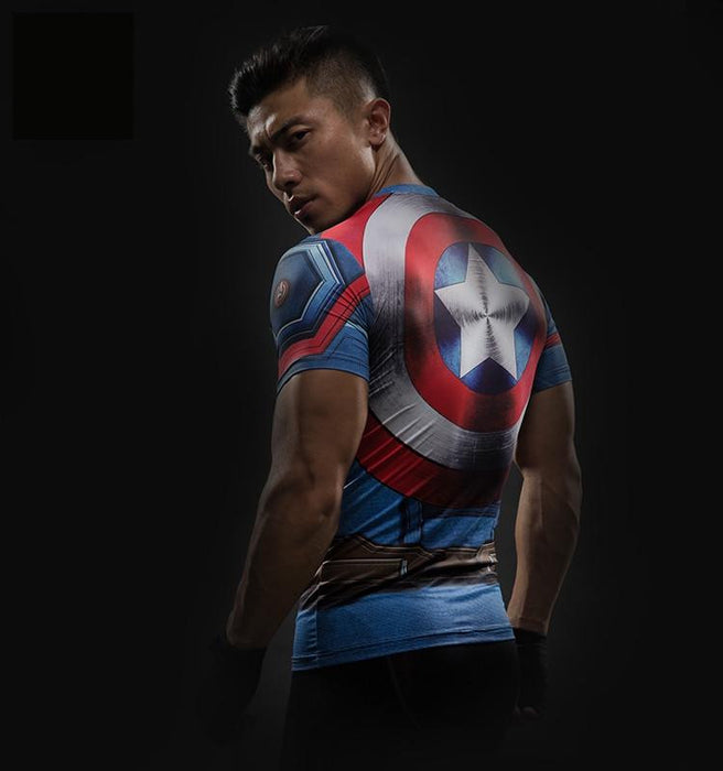 Captain America Civil War 3D Workout Compression Short Sleeves T-shirt - Superheroes Gears