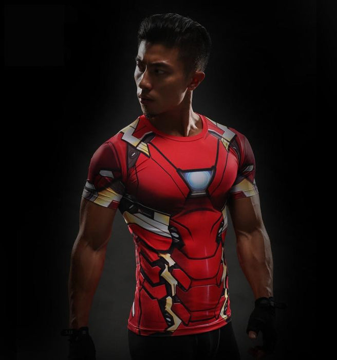 Iron Man Marvel Superheroes Costume 3D Compression Training T-shirt - Superheroes Gears