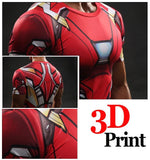 Iron Man Marvel Superheroes Costume 3D Compression Training T-shirt