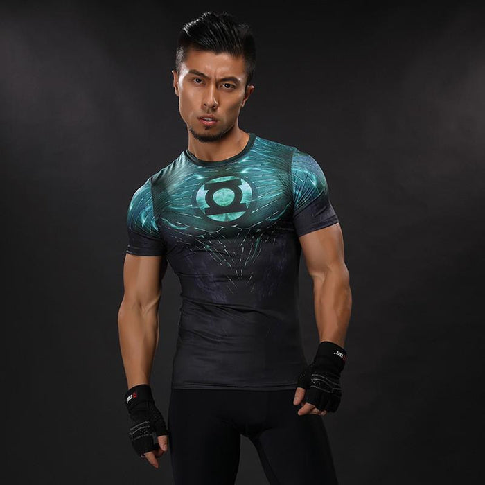 DC Green Lantern Symbol Inspired Compression Short Sleeves Slim Fit T-shirt - Superheroes Gears