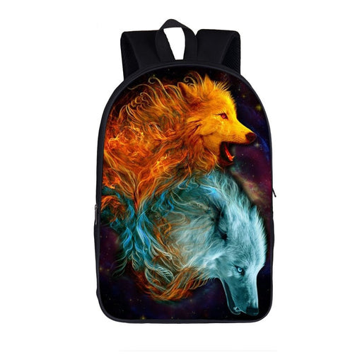 Magnificent Two Wolves Fire and Ice Wolf Power Backpack