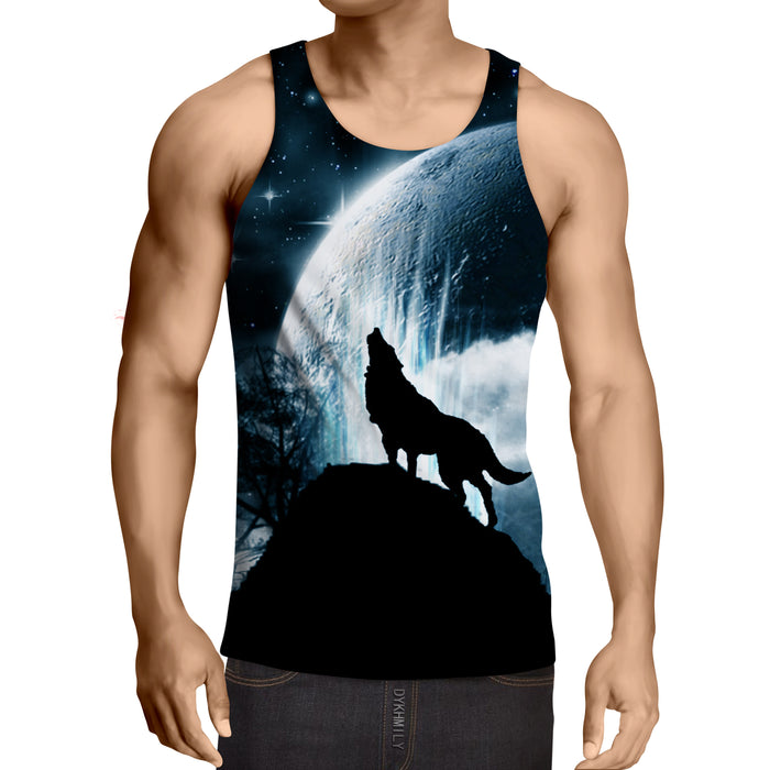 Magnificent Wolf Moonlight Shadow Print Trendy Tank Top