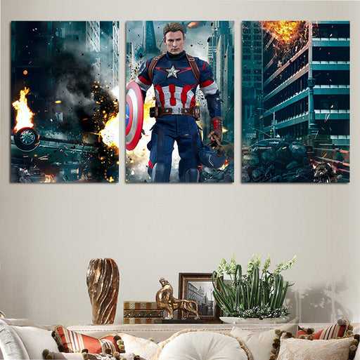 Marvel Avengers Captain America 3pcs Wall Art Canvas Print