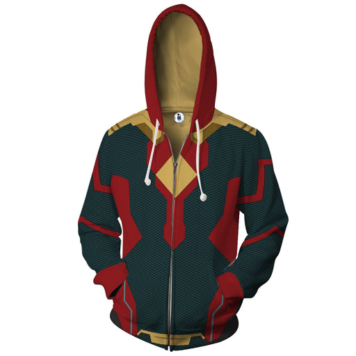 Marvel Avengers Vision Android Superhero Suit Zip Up Hoodie