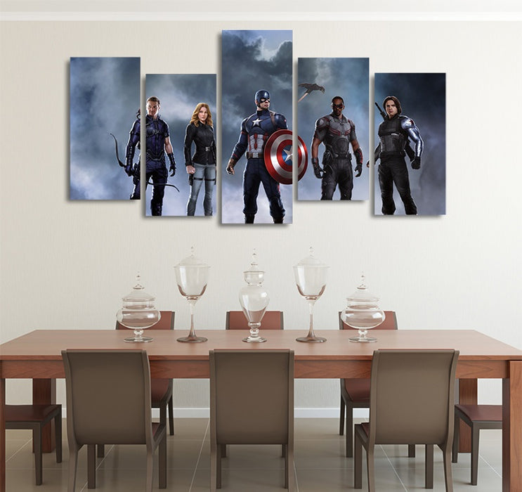 Marvel Captain America Civil War Character 5pcs Canvas Print