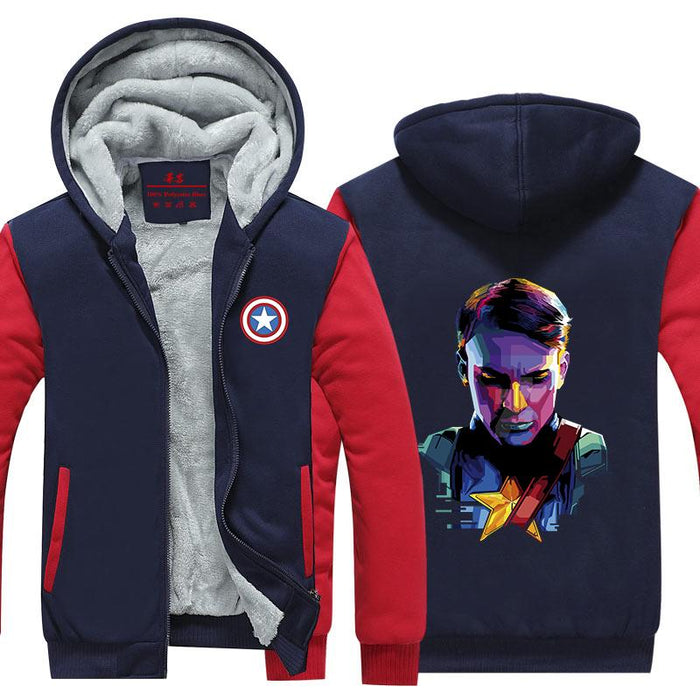 Marvel Captain America Cool Portrait 3D Print Hooded Jacket