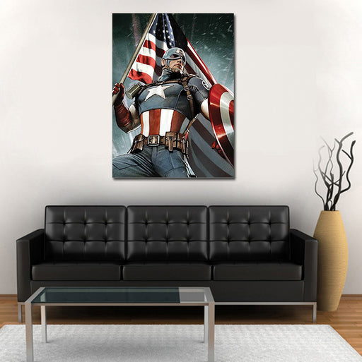 Marvel Captain America Holding The US Flag 1pc Canvas Print
