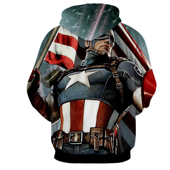 Marvel Captain America Holding the American Flag Hoodie