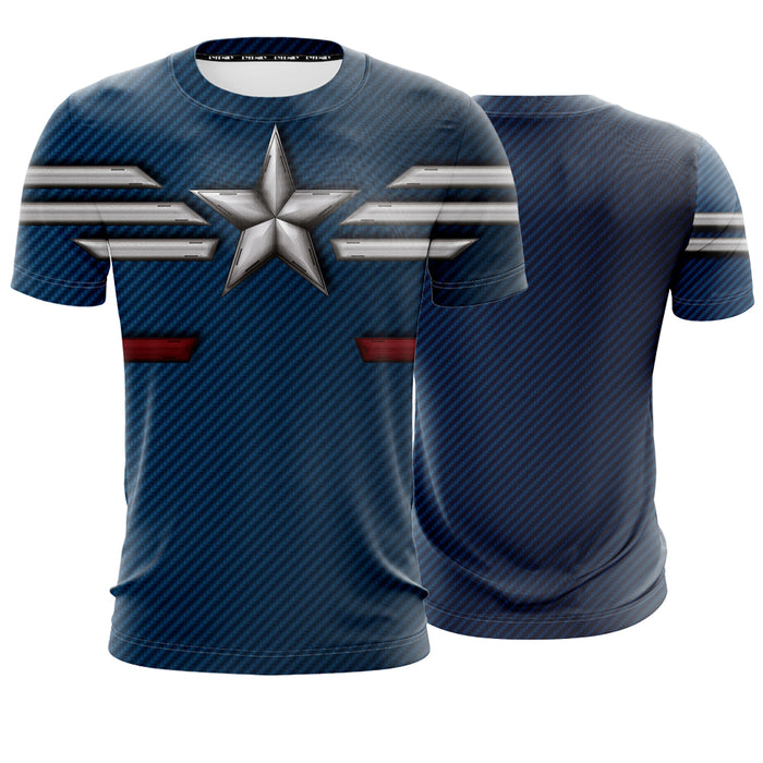 Marvel Captain America The STRIKE Stealth Suit Blue T-Shirt