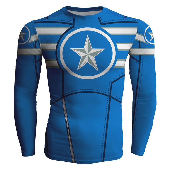 Marvel Captian America Long Sleeves Cool Compression T-shirt