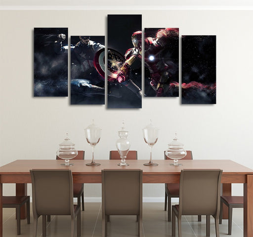 Marvel Civil War Captain America Vs Iron Man 5pcs Canvas Art