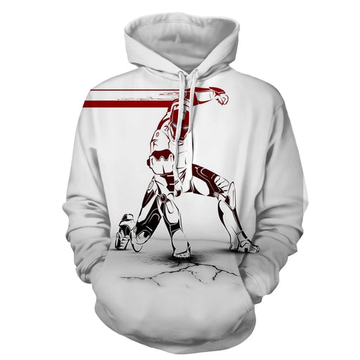 Marvel Comics Forceful Iron Man Unique White Print Hoodie