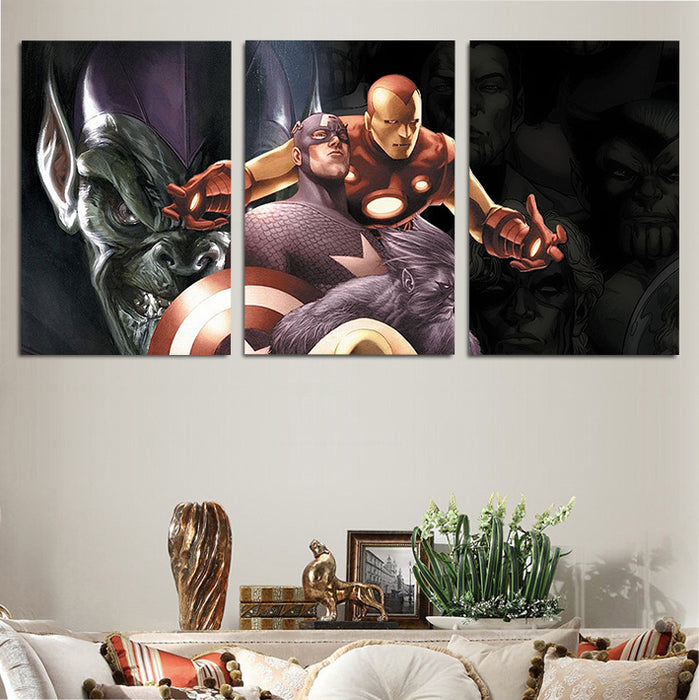 Marvel Comics Hero & Villain Characters 3pcs Canvas Print
