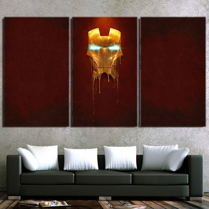 Marvel Comics Iron Man Mask Melting 3pcs Canvas Print