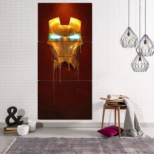 Marvel Comics Iron Man Mask Melting 3pcs Portrait Canvas