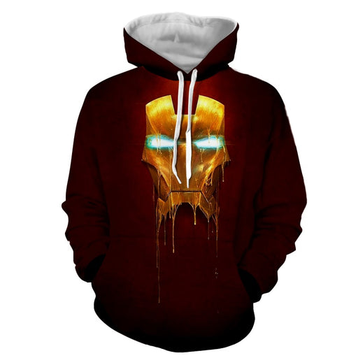 Marvel Comics Iron Man Mask Melting Full Print Hoodie
