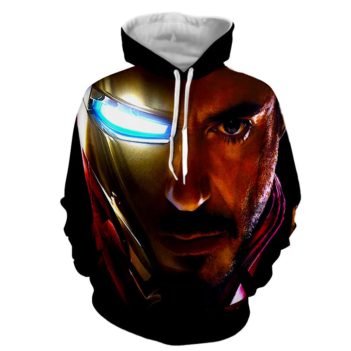 Marvel Comics The One Eye Iron Man Style Print Hoodie