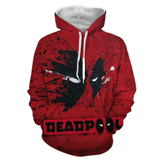 Marvel Cool Deadpool Mask Abstract Paint Design Red Hoodie