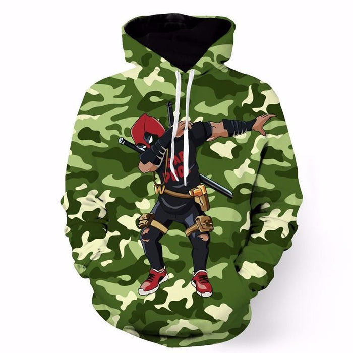 Marvel Deadpool Dab Dance Posture Camo Pattern Dope Design Hoodie