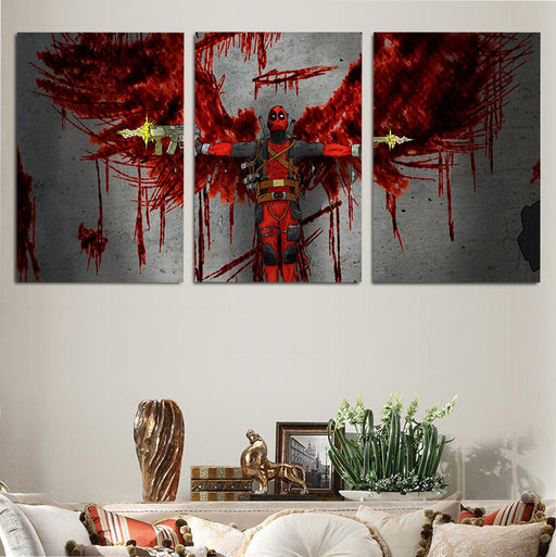 Marvel Deadpool Red Bloody Angel 3pcs Wall Art Canvas Print