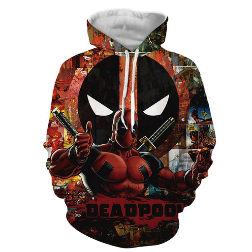 Marvel Deadpool Superhero Amazing Comic Designs Red Hoodie