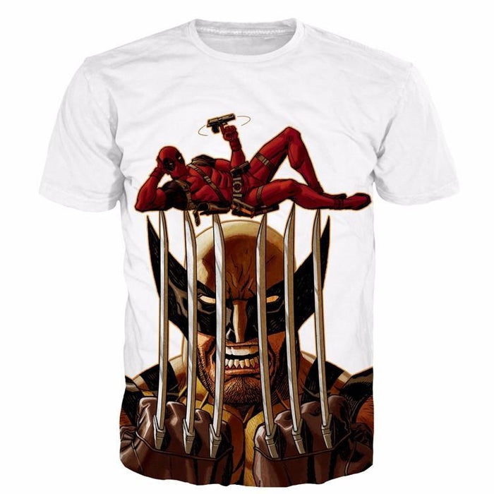 Marvel Heroes Wolverine Stab Deadpool Joke Funny Design T-Shirt