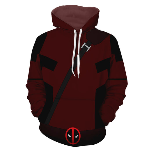 Marvel Immortal Rogue Deadpool Logo Red Suit Cosplay Hoodie