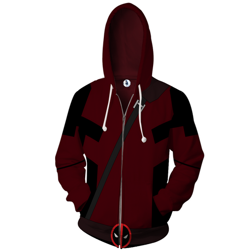 Marvel Immortal Rogue Deadpool Logo Red Suit Zip Up Hoodie