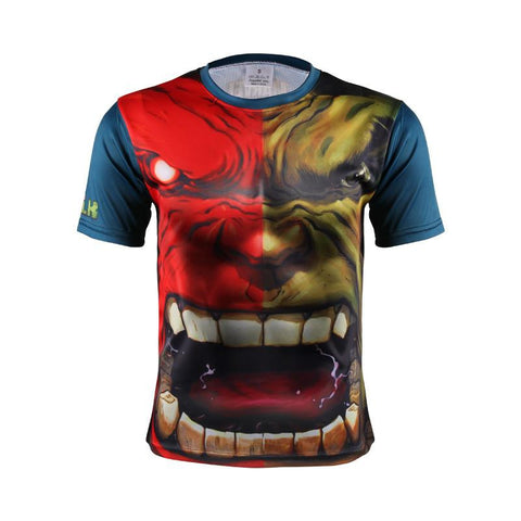 Marvel Incredible Hulk vs Red Hulk Angry Face Design 3D Workout T-shirt