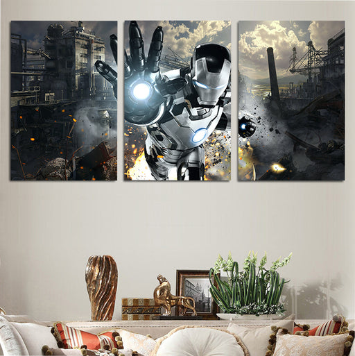 Marvel Iron Man Black & White Armor Mk. 42 3pcs Canvas Print