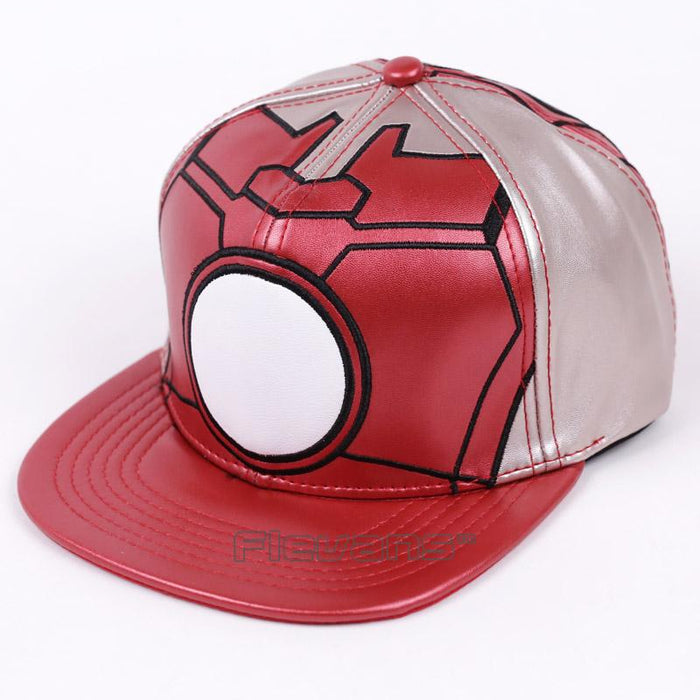 Marvel Iron Man Red Leather Streetwear Snapback Baseball Cap