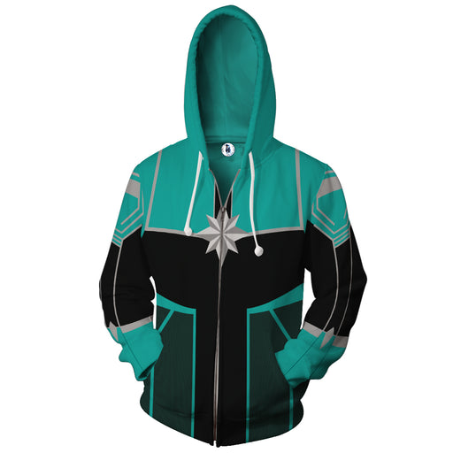 Marvel Mightiest Avenger Captain Marvel Green Zip Up Hoodie