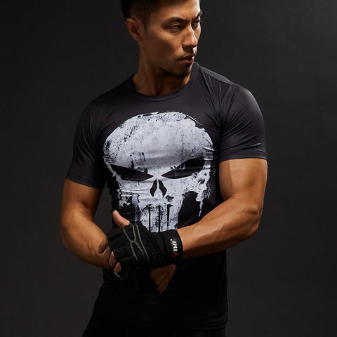 Marvel Punisher Skull Logo Printed Compression Short Sleeves Slim Fit T-shirt