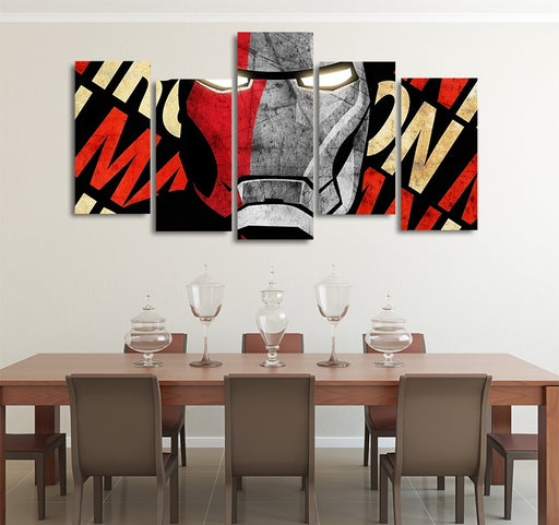 Marvel Red & Gray Iron Man Design 5pcs Wall Art Canvas Print