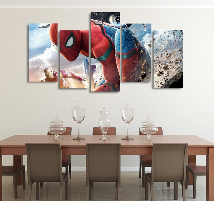 Marvel Spider-Man Homecoming With Iron Man 5pcs Canvas Print
