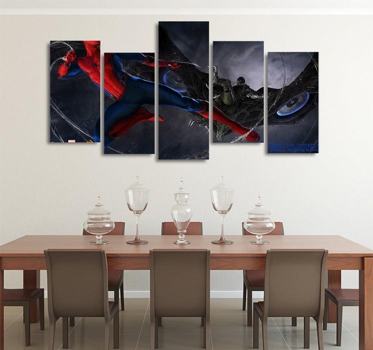 Marvel Spider-Man Vs The Vulture 5pcs Wall Art Canvas Print