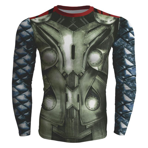 Marvel Superhero Almighty Thor Dope Long Sleeves Gym T-shirt