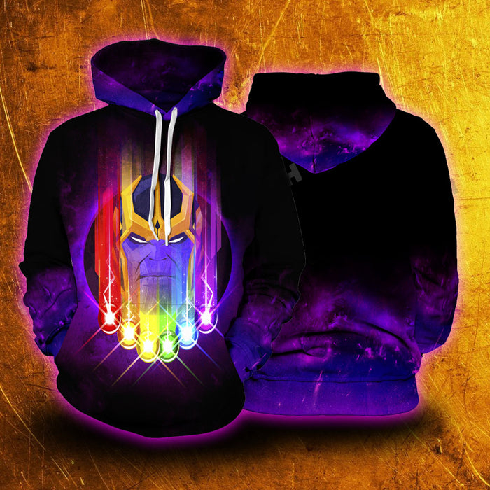 Marvel Thanos Face & The Infinity Stones Purple Black Hoodie
