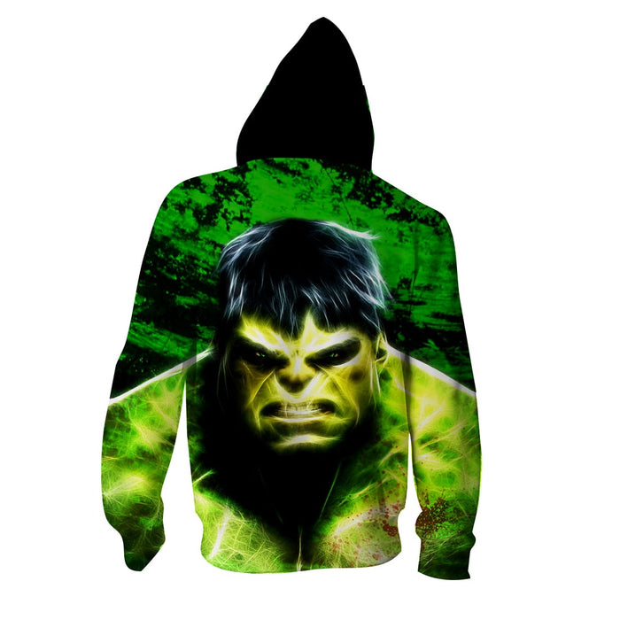 Marvel The Incredible Hulk Angry Face Green Vibrant Hoodie