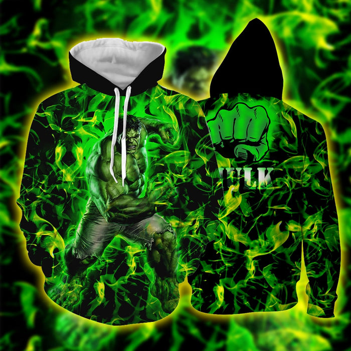 Marvel The Incredible Hulk Fist Design Green Vibrant Hoodie