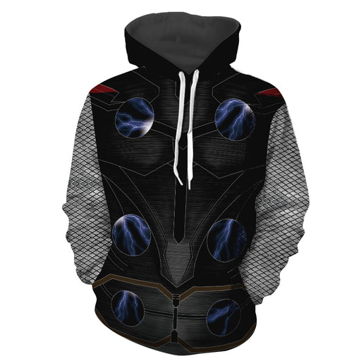Marvel Thor God Of Thunder Black Armor Suit Cosplay Hoodie