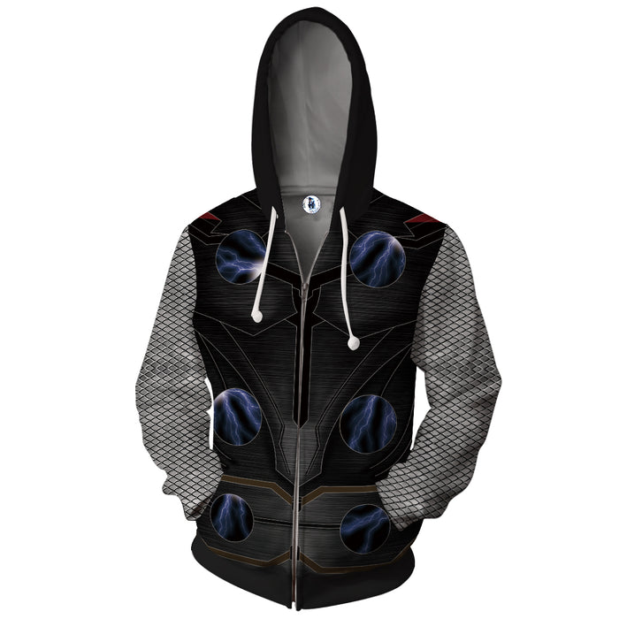 Marvel Thor God Of Thunder Black Armor Suit Zip Up Hoodie