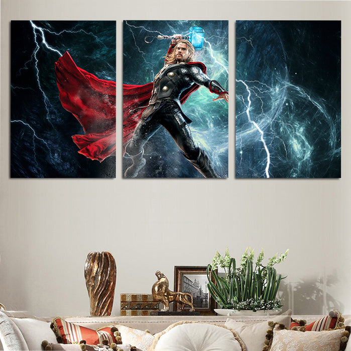 Marvel Thor The God Of Thunder 3pcs Wall Art Canvas Print
