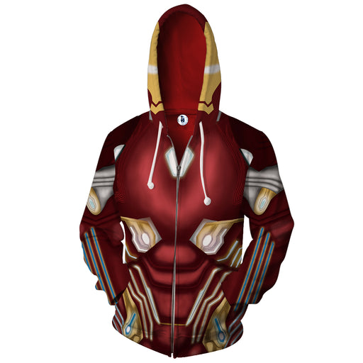 Marvel Tony Stark Marvelous Iron Man Red Suit Zip Up Hoodie