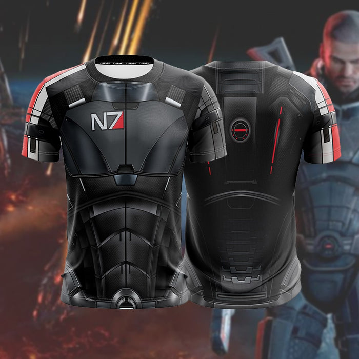 Mass Effect 2 Male Shepherd N7 Armour Cool Gaming T-Shirt